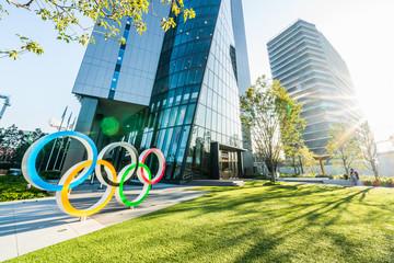 Tokyo, Japan - Nov 1, 2019: Olympic symbol logo at Olympic Museum near Japan New National Stadium, Shinjuku. Tokyo Summer Olympic 2020 host venue, Japanese landmark, international sport event concept.
