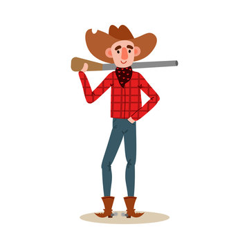 American cowboy standing with a gun behind wearing a red shirt, hat, boots. Vector illustration in flat cartoon style