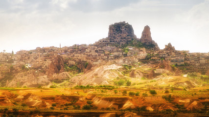 Natural rock castle of Uchisar is highest point in Cappadocia, Nevsehir Province, Turkey.