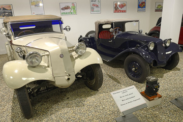 Sport Convertible car Tatra 30, produced in years 1927-1931 and car T 57. Exposition of the Museum of Technology in Koprivnice, Moravian-Silesian Region, Czech Republic
