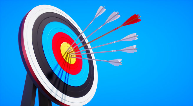 Colored target board with arrows in the sun against blue sky - 3D illustration