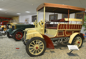 Old car NW-type B, produced in years 1901-1904. Exposition of the Museum of Technology in Koprivnice, Moravian-Silesian Region, Czech Republic