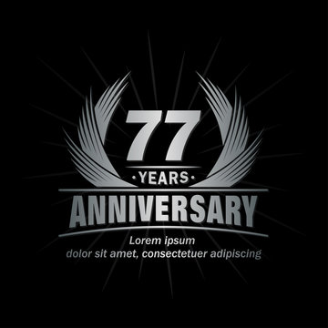 77 years logo design template. Anniversary vector and illustration template.