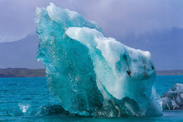 Blue Large Iceberg Jokulsarlon Glacier Lagoon Iceland