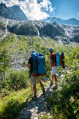 Backpacker in the italian alps