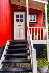 Red Black White Corrugated Iron House Street Reykjavik Iceland