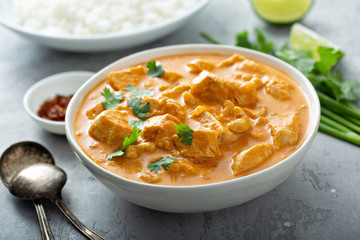 Chicken and cashew red curry in a bowl, thai inspired dish Wall mural