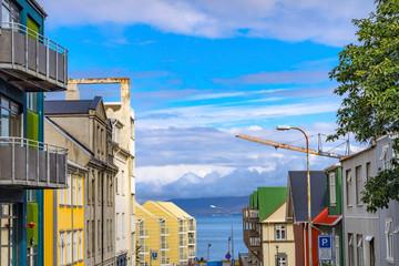 Corrugated Stores Shopping Apartments Street Reykjavik Iceland