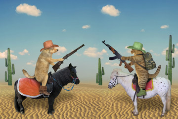 Türaufkleber Pferde The dog cowboy in a brown hat and boots with a rifle on a white horse and the cat soldier with a army backpack and a Kalashnikov machine gun on a black pony met in the desert.
