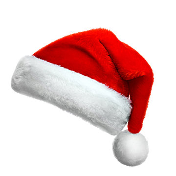Realistic collection (set) of isolated real red santa hats . New Year big size high resolution hats on a solid color background