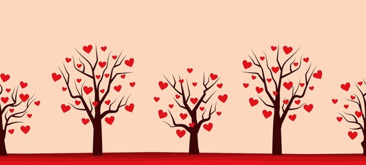 Valentine's day background. Seamless border. Silhouettes of trees with red hearts in the picture. Vector illustration
