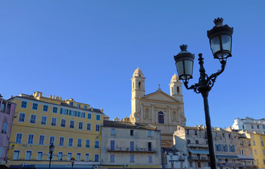 View of St Jean Baptiste cathedral in old port of Bastia ,second largest corsican city and main entry point to the island