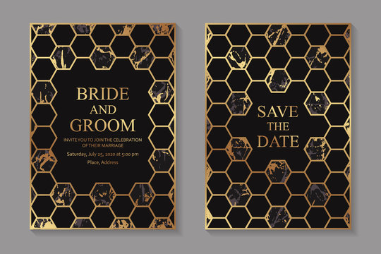 Set of modern geometric luxury wedding invitation design or card templates for business or presentation or greeting with golden hexagons on a black and marble background.
