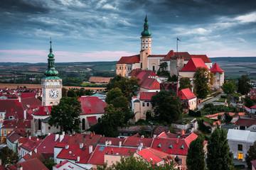 Castle in Mikulov, South Moravia, Czech Republic as Seen from Goat Tower (Kozi Hradek)