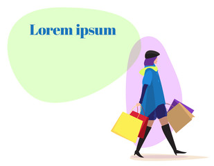 Vector Сopy space Woman with gifts shopping