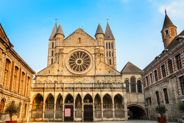 Notre-Dame de Tournai facade view with towers , Cathedral of Our Lady, Tournai, Walloon municipality, Belgium