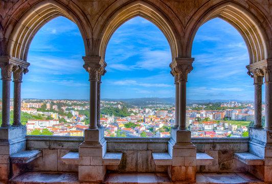 View of Leiria through arcade of the local castle, Portugal