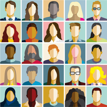 People icons. People Flat icons collection. People diversity. Vector flat design people characters.