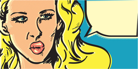 Pop art woman banner. Angry blond woman with speech bubble.