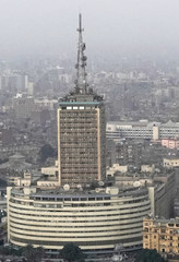 """The Egyptian Radio and Television Union (ERTU) """"Maspero"""" is seen around residential buildings from Cairo tower building in the capital of Cairo"""