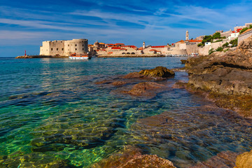 Old Harbour and Fort St Ivana in sunny day in Dubrovnik, Croatia