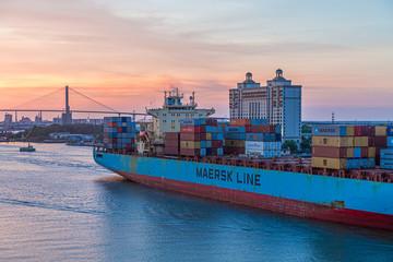 Maersk Line into Sunset