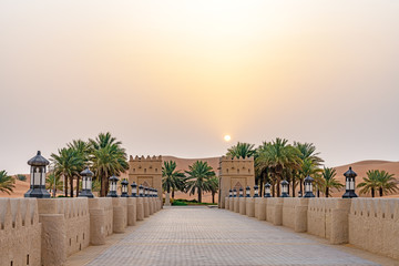 Qasr Al Sarab in Liwa, Al Dhafra, Abu Dhabi, United Arab Emirates at sunrise.