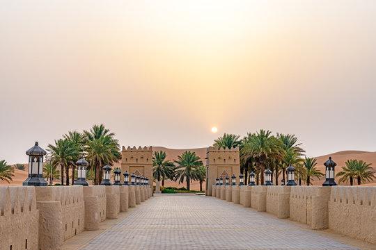 Qasr Al Sarab in Liwa, Al Dhafra, Abu Dhabi, United Arab Emirates at sunrise.