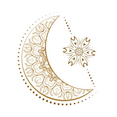 Fotobehang Boho Stijl Golden cresent moon and star temporary tattoo. Ethnic style vector graphic.