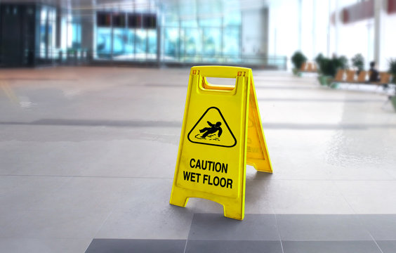 Caution wet slippery floor sign in the building