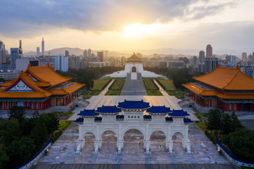 Sunrise at Front gate of Chiang Kai Shek Memorial hall in Taipei City, Taiwan