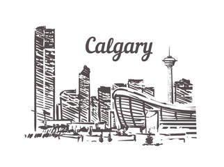 Fotomurales - Calgary skyline sketch. Calgary hand drawn illustration isolated
