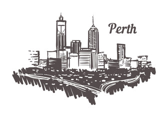 Fotomurales - Perth skyline sketch. Perth hand drawn illustration isolated on