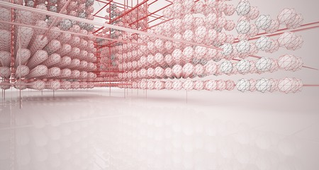Drawing abstract architectural white interior from an array of spheres with large windows. 3D illustration and rendering. Fotoväggar