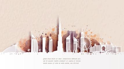 Fototapete - Watercolor of Dubai silhouette skyline and famous landmark. vector illustration.