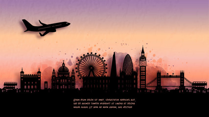 Fototapete - Watercolor of London, England silhouette skyline and famous landmark. vector illustration.