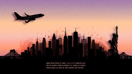 Wall Mural - Watercolor of New York City, America  silhouette skyline and famous landmark. vector illustration.