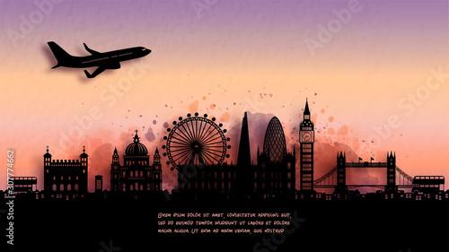 Fototapete Watercolor of London, England silhouette skyline and famous landmark. vector illustration.