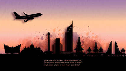 Wall Mural - Watercolor of Indonesia silhouette skyline and famous landmark. vector illustration.