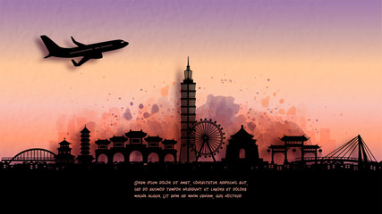 Wall Mural - Watercolor of Taipei silhouette skyline and famous landmark. vector illustration.