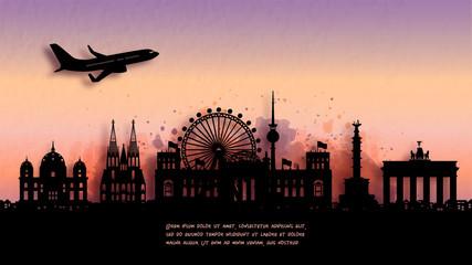 Fototapete - Watercolor of Berlin, Germany silhouette skyline and famous landmark. vector illustration.