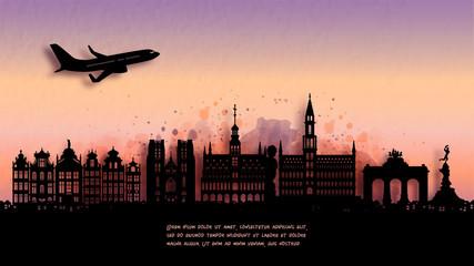 Fototapete - Watercolor of Belgium silhouette skyline and famous landmark. vector illustration.