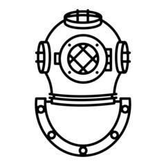 Deep sea diver helmet monoline vector graphic