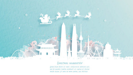 Wall Mural - Christmas card with travel to Seoul, South Korea concept. Cute Santa and gift boxes. World famous landmark in paper cut style vector illustration.