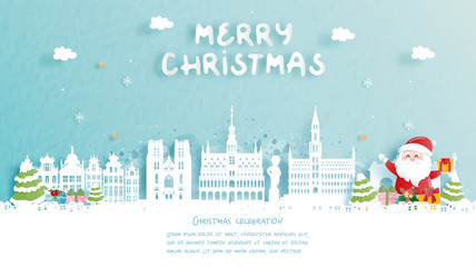 Fototapete - Christmas card with travel to Belgium concept. Cute Santa and gift boxes. World famous landmark in paper cut style vector illustration.