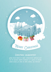 Wall Mural - Christmas card with Germany famous landmark. Christmas celebrations in paper cut style. Vector illustration.