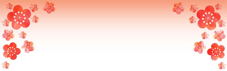紅梅の背景(和風イメージ、正月、1月、2月、春)