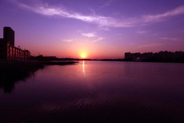 Riverside sunset scenery