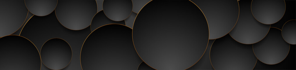 Fotobehang - Tech geometric background with abstract golden and black circles. Vector banner design