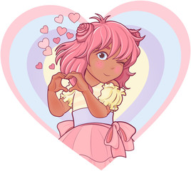 Foto op Aluminium Sprookjeswereld Kawaii Girl Showing Heart Shape Gesture